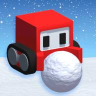 方塊人推雪球