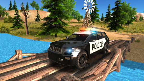 警车驶离公路截图