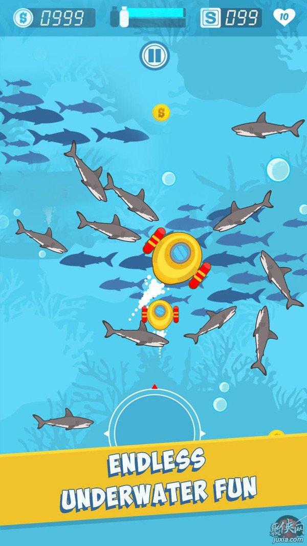饥饿鲨鱼捕食