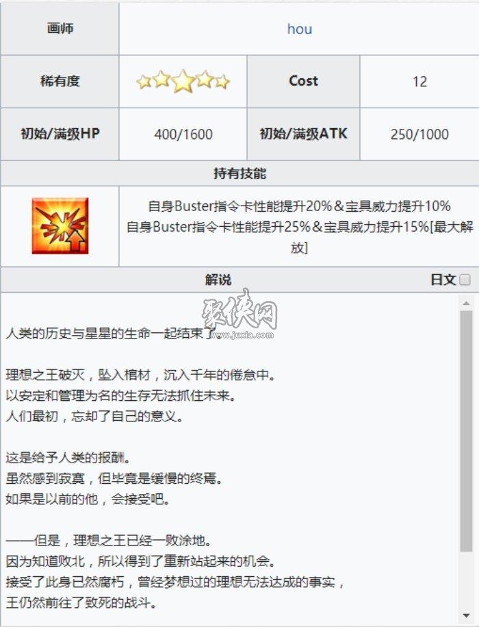 fgo五星礼装黄昏的王圣介绍!