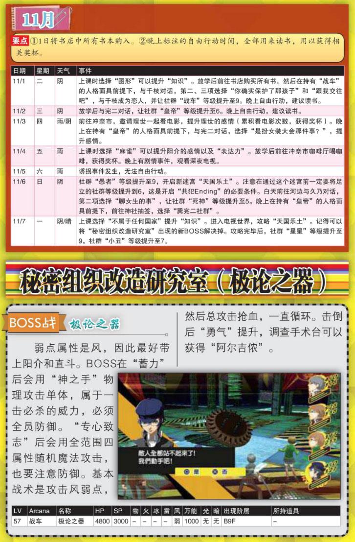 女神异闻录4黄金版全社群MAX11月要做啥 P4G十一月推荐行动攻略