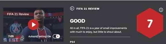 FIFA21被IGN评7分 进步不大仅在细节有调整变化