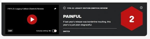 FIFA21Switch版被IGN评价2分 今年的版本实在太丢人了