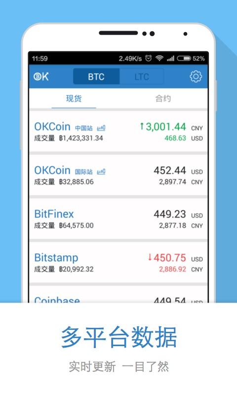 OKCoin比特币交易平台截图