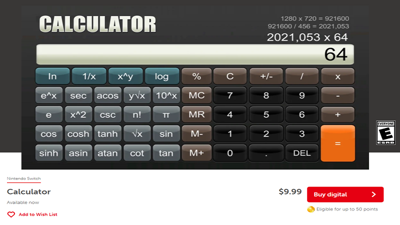 为什么会有人尝试在NS上上架计算器 售价9.99美元的计算器与任天堂的审核矛盾